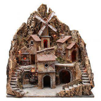 Pueblo para belén napolitano con molino de viento 60x58x55 cm | venta online en HOLYART