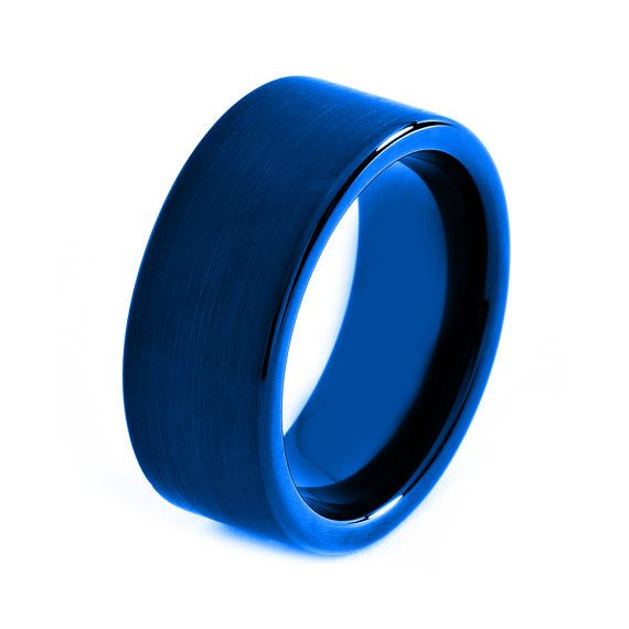 Wedding Band For Women Bands Blue Tungsten