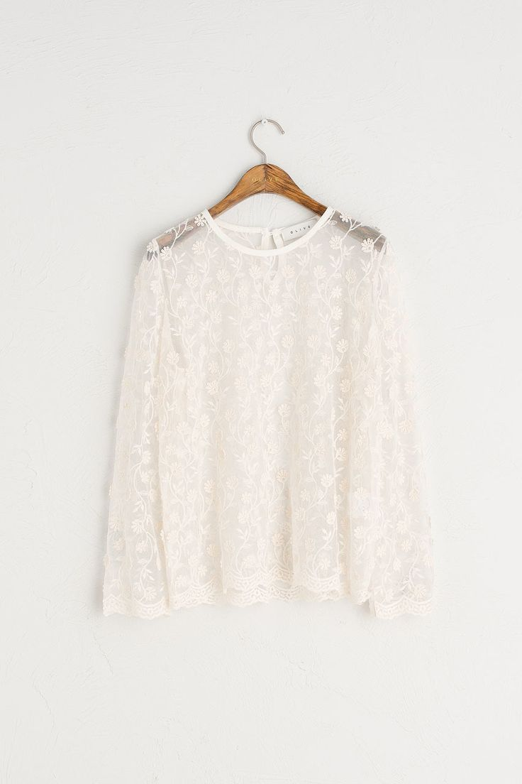 See-Though Lace Blouse, Ivory