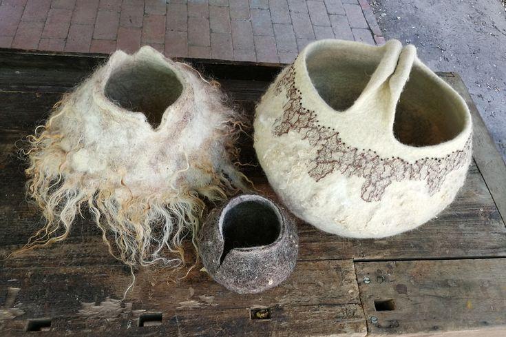 Filzkörbe - nass gefilzt mit Rohwolle