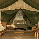 A deluxe safari tent. Sleeps two people and you can book online at www.paperbarkcamp.com.au