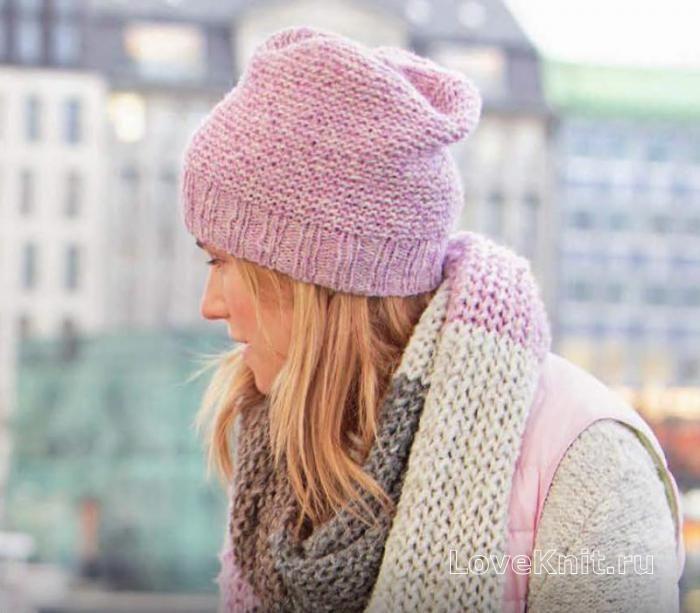 Спицами розовая шапочка платочной гладью фото к описанию