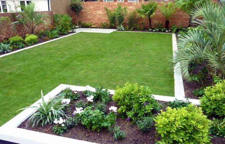 jardin moderno con parcela césped