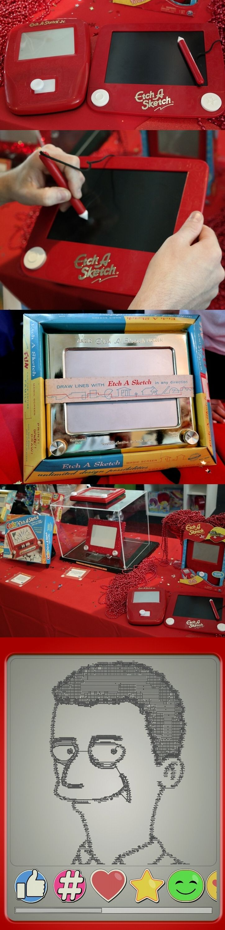 What did you do on Etch A Sketch Day? Spin Master celebrated the iconic drawing toy's birthday by showing off two new versions—the Joystick and the Freestyle Drawing Pad with Stylus—next to one of the original units that sold for $2.99 on July 12, 1960. One thing hasn't changed: You still turn them upside down and shake to erase the screen. New apps let users turn photos into Etch A Sketch art. Spin Master bought the brand from the Ohio Art Co. in 2016. #sweetsuite17 #shakeyouretch…