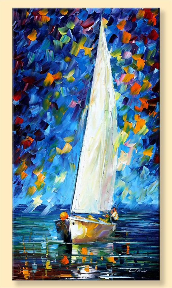 White Sail  Limited Edition Seascape Ocean by AfremovArtStudio