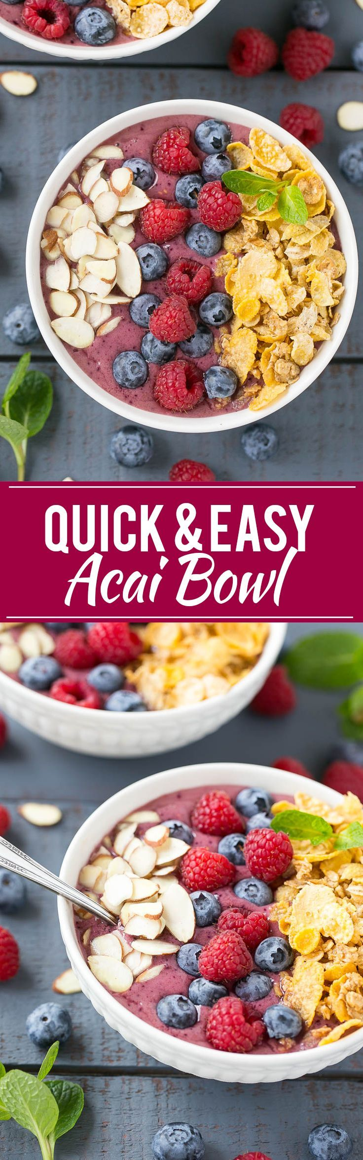 This recipe for an acai bowl is a smoothie made with fruit and yogurt that's served in a bowl and finished with a fun and colorful variety of toppings including Honey Bunches of Oats Cereal. #CerealAnytime ad