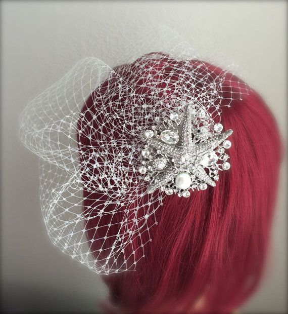 Beach Wedding veil, Sea star Crystal Comb Birdcage Veil Starfish Pearl Rhinestone Comb 9, 12 inch French net veil white, ivory birdcage veil by GracefullyGirly