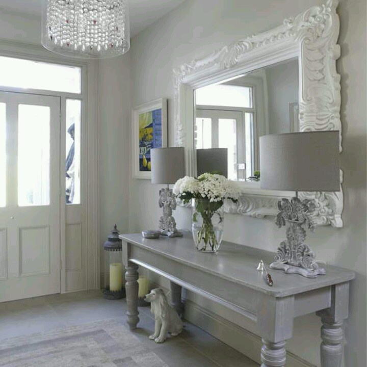 Entryway table mirror like it a little less froofy for Furniture for the foyer entrance
