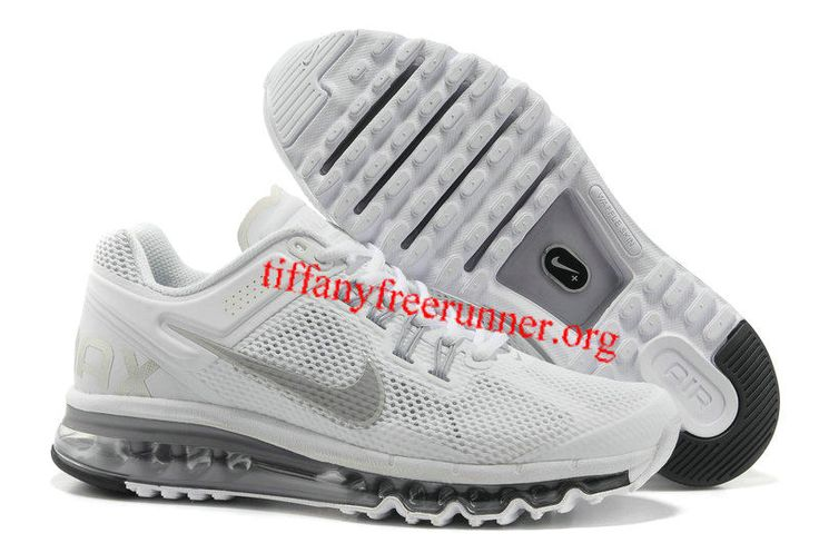 Mens Nike Air Max 2013 White Reflective Silver Wolf Grey Shoes