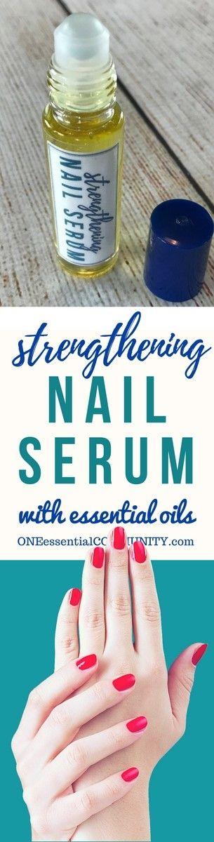 DIY essential oil nail serum for dry, weak, brittle fingernails. Nourishes, strengthens, stimulates healthy nail growth. And it restores moisture to make nails more flexible and resilient.