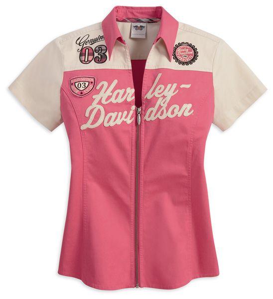 Harley-Davidson® Womens Berry/Sandshell Full Zip Pink Short Sleeve Woven Shirt size M