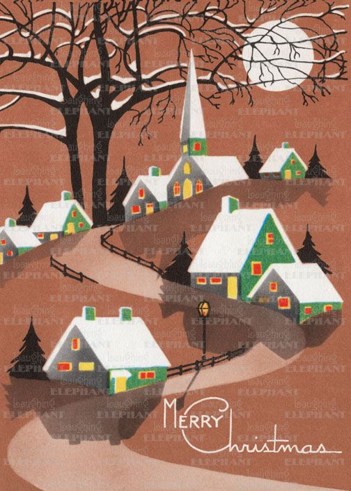 Snow Topped Buildings & Trees – Blank Greeting Card (Bagged with Envelope) | Laughing Elephant
