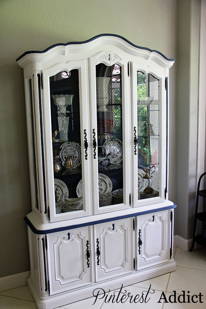 Finished china cabinet-Have a china cabinet just like this. Would love but with yellow trim