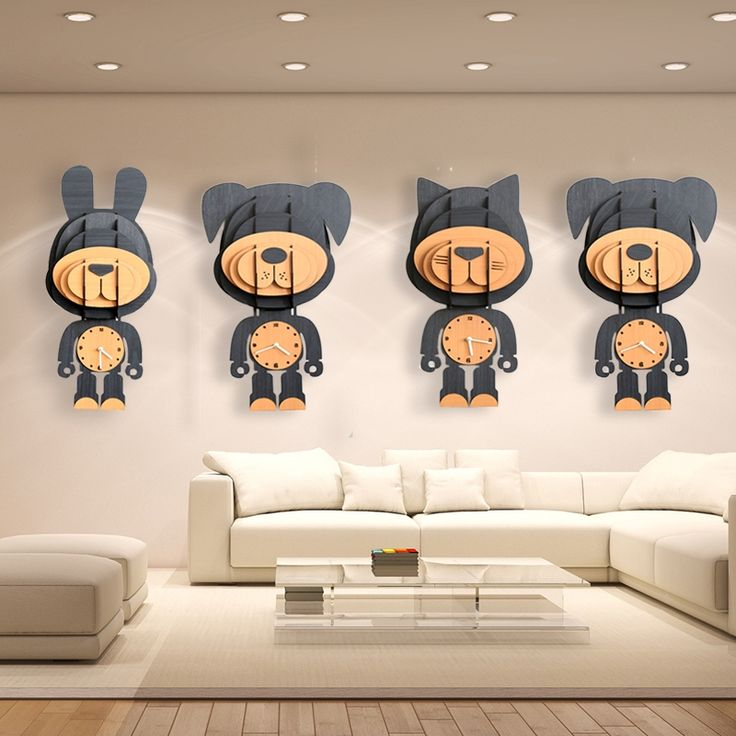 Simple Countryside Wall Decoration Cartoon Changeable Wood Animals Clock Yellow Dog