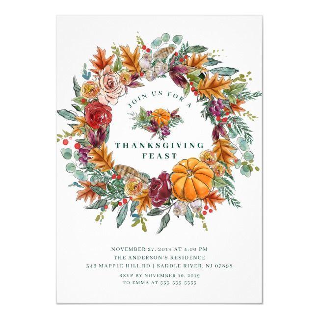 Autumn Harvest Wreath Thanksgiving Dinner Party Invitation Zazzle Com Autumn Dinner D I 2020