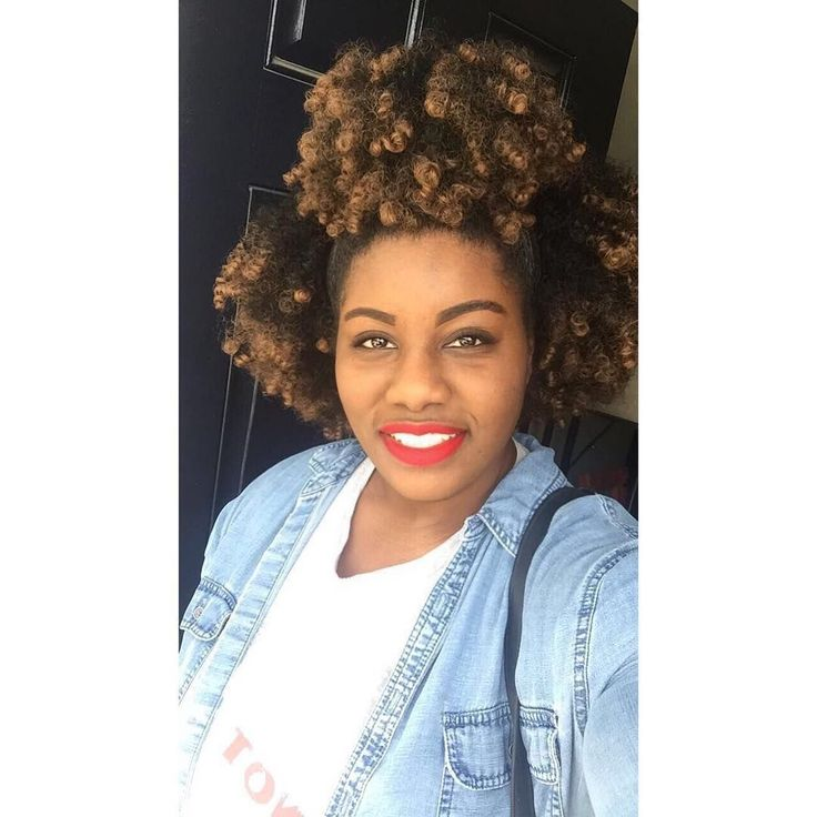 Afro Puffs    @withxoxo_tia    @outre_hair (Quick Weave Big Beautiful Hair 4c Coily, Color: DR30