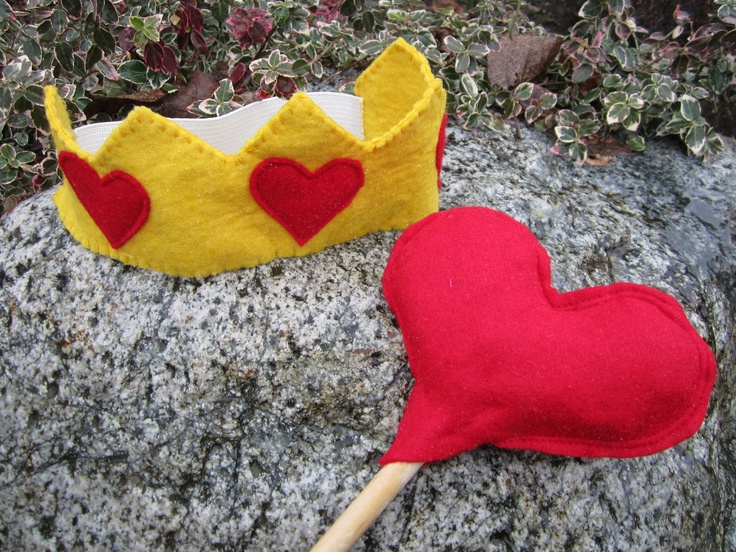 Upcycled Clothing - King of Hearts Crown and Sceptre - Yellow Felt Crown with Red Felt Heart Sceptre - Alice in Wonderland. $30.00, via Etsy.