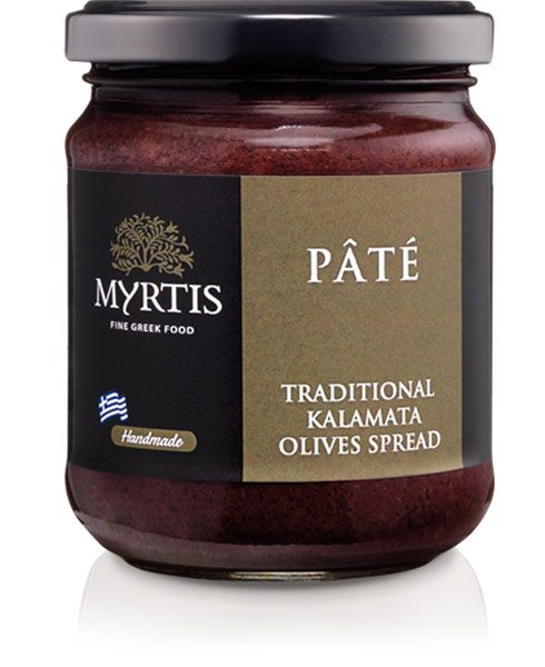 Myrtis Olive Spread, a delicacy of the Mediterranean cuisine, made only from the finest Kalamata olives and processed by hand, it can be served as a dip with toasted bread strips.