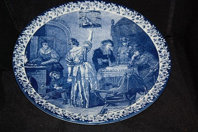 DELFTS BLAUW BORD CHEMKEFA 29 CM   DELFTS BLAUW BORD AFBEELDING JAN STEEN 1636 - 1689