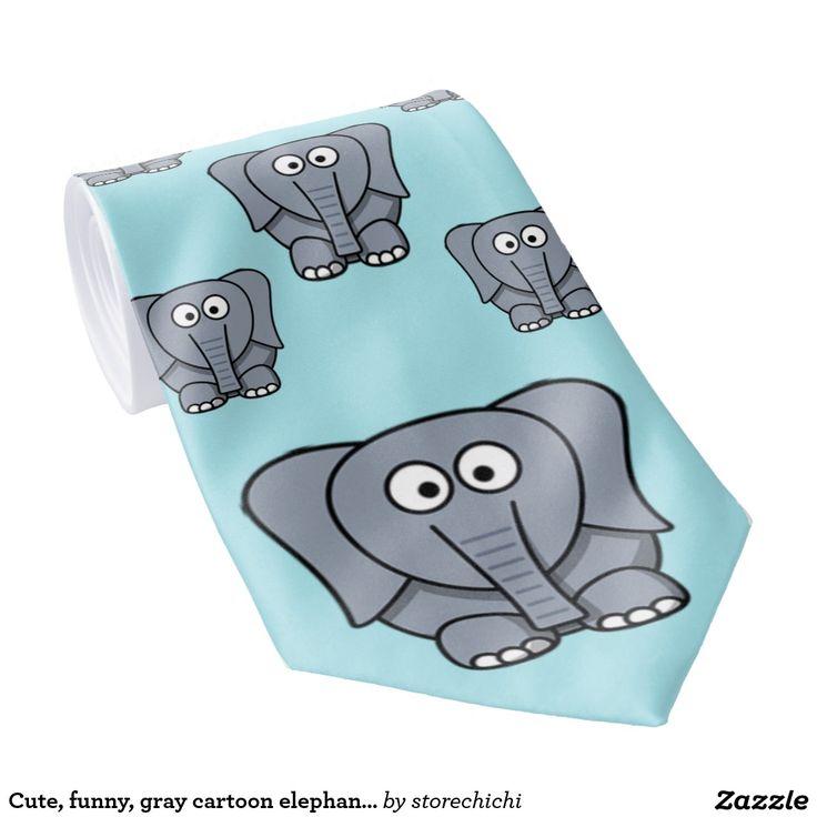 Cute, funny, gray cartoon elephant. Light Blue