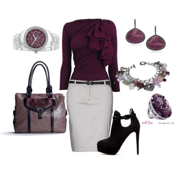 A fashion look from February 2012 featuring purple shirt, mango skirts and high heel boots. Browse and shop related looks.