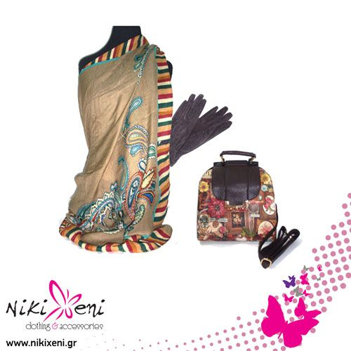 Paisley pattern scarf over a collage printed bag, suede gloves._fashion woman accessories.