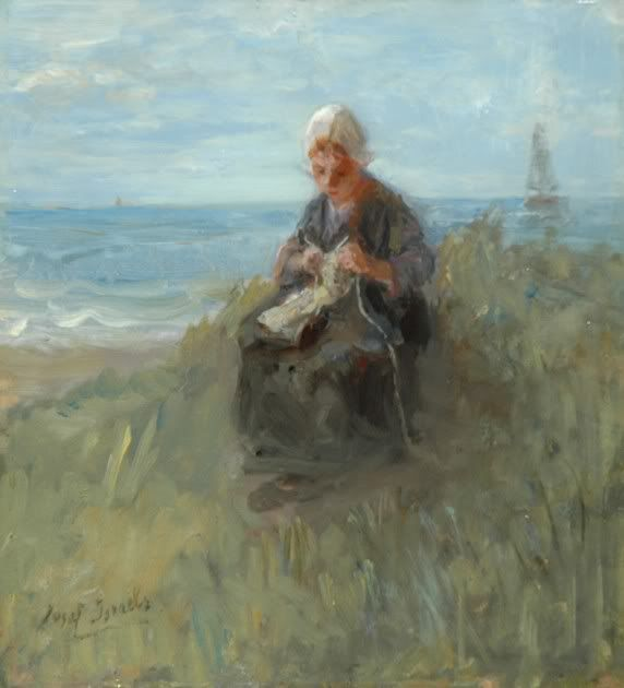 *Jozef Israels A knitting girl in the dunes dated ca. 1900*