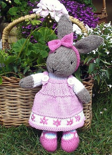 Ravelry: bunty bunny rabbit with removeable dress pattern by Debi Birkin