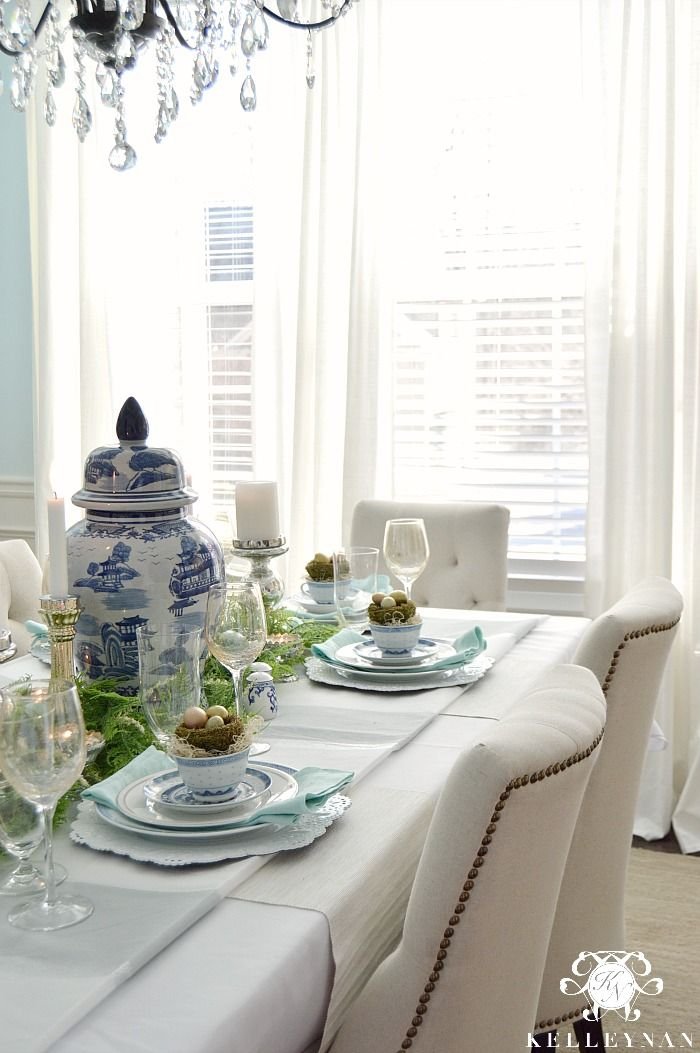 Blue and White Easter Table with bird nests