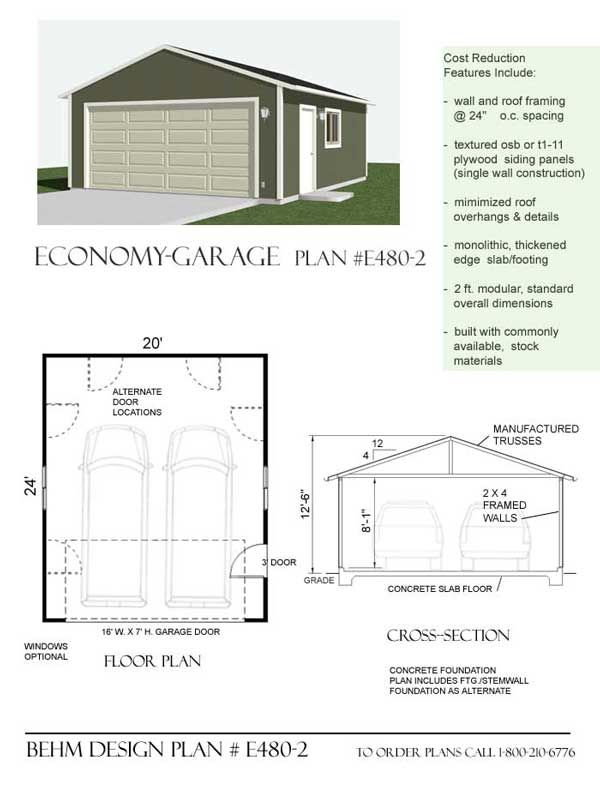 Economy 2 car garage plan e480 2 by behm design 20 x 24 for Garage plans with shop space