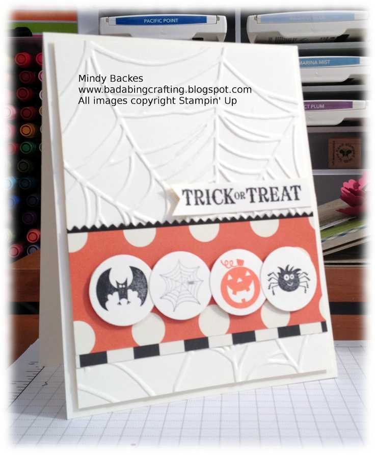 Punched circles for spooky Halloween card.: Su Cards, Halloween Cards, Bada Bing, Mondays, Cards Halloween, Mailable Monday, Crafts