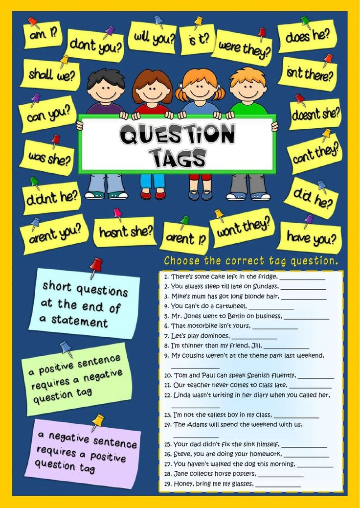 Question tags interactive and downloadable worksheet. Check your answers online or send them to your teacher.