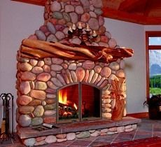 round river rock fireplace - Google Search