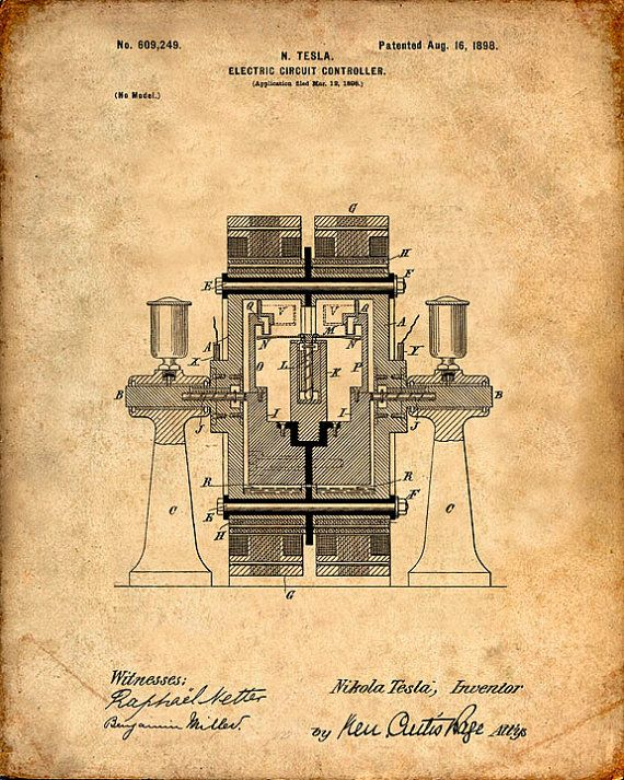Arte de la pared de impresión - controlador del circuito eléctrico de Tesla - Tesla - Tesla Print - patentes de Tesla - Tesla cartel de patentes