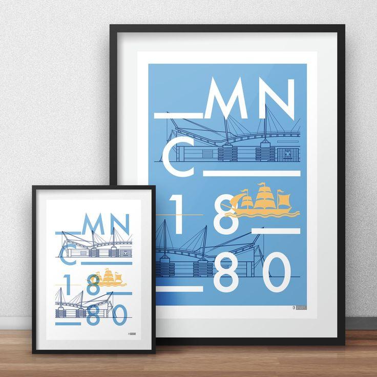 Vector typographic line art poster of Manchester City's Etihad Stadium a.k.a. City of Manchester Stadium. Designed by Dan. www.designedbydan.co.uk