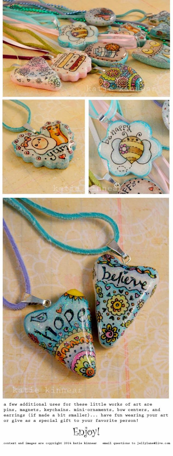 Doodled Pendants ~polymer clay, marker, glaze~ Try it just to think positive and get creative, never mind wearing it! Bag of positive stones...