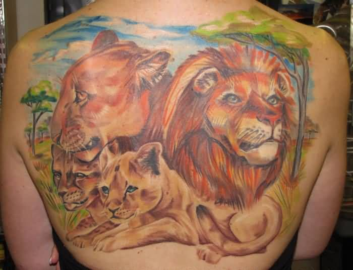 Lioness And Cubs Tattoos Tattoo of lion and lioness with their cubs ...