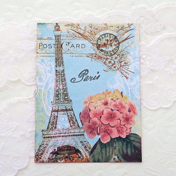 Paris Note Cards Vintage Paris Eiffel Tower by EnchantedQuilling