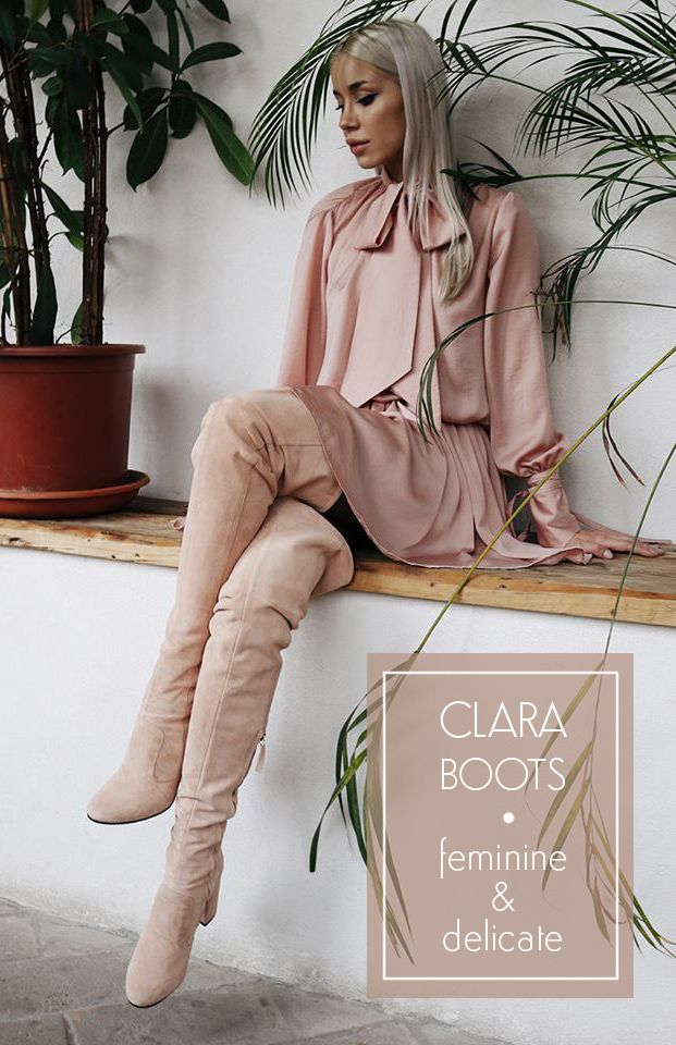 We just fell in love with Alina Ceusan's light pink outfit and nude Clara Boots.