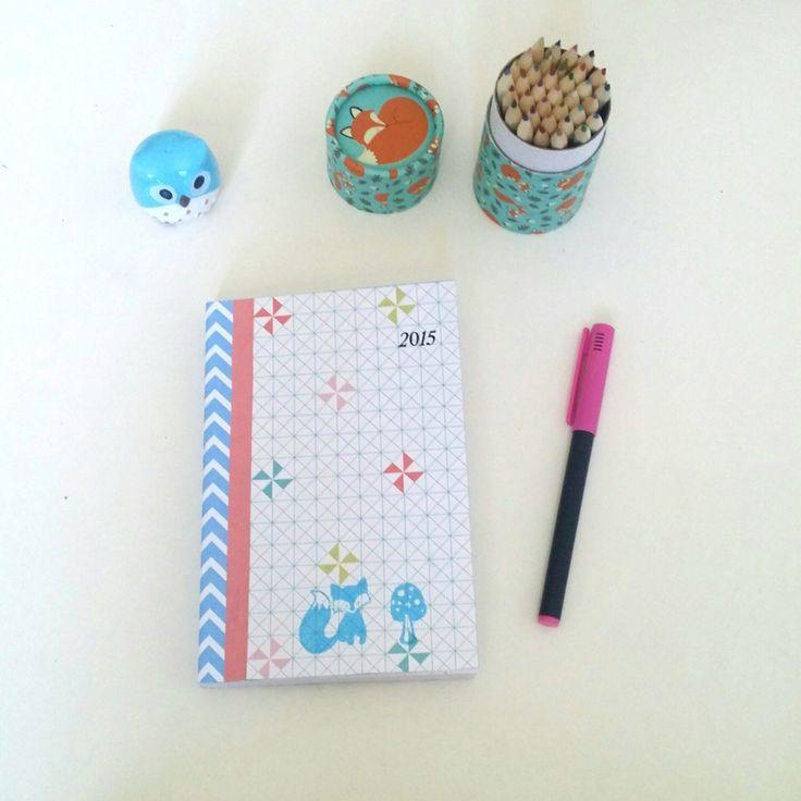 Agenda scolaire 2015/2016 motif géométrique décoration renard, my little papeterie : Carnets, agendas par my-little-papeterie