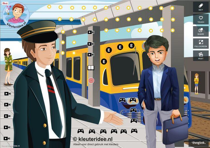 Interactieve praatplaat voor kleuters, thema de trein, kleuteridee