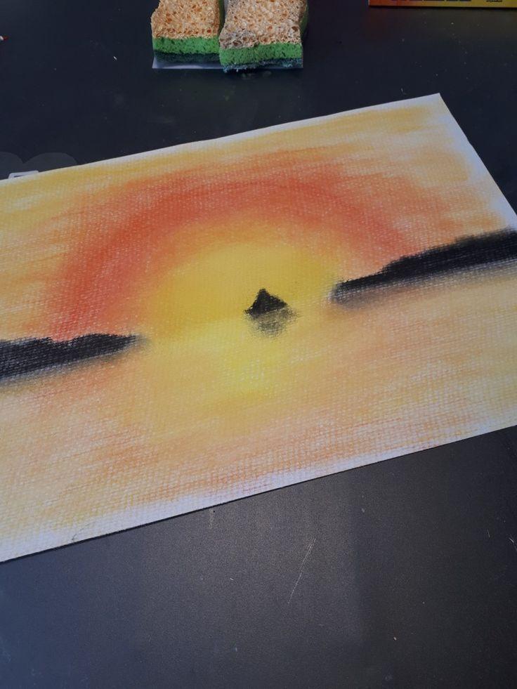 Sonnenuntergang Mit Pastellkreide In 2020 Pastell Kreide