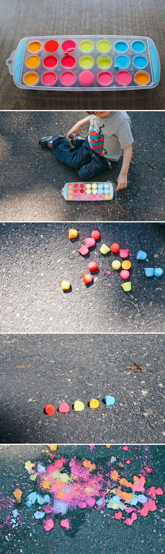 Rainbow ice chalk and 3 other easy child-led science experiments | Offbeat Families