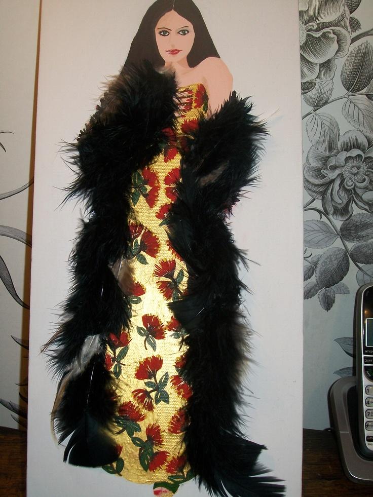 my gold xmas pohutukawa dress with feather cloak