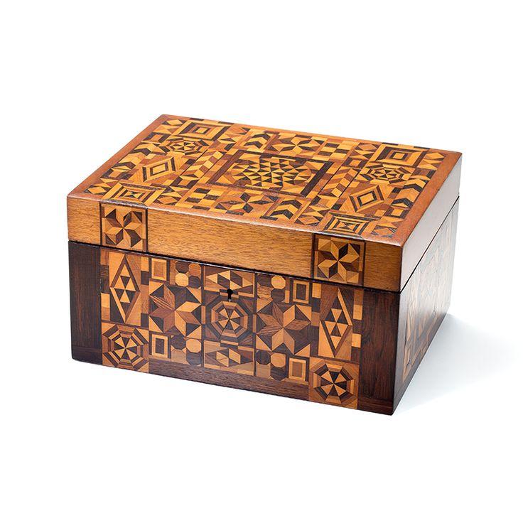 OdV 072 Vintage English Marquetry Tea Caddy Box