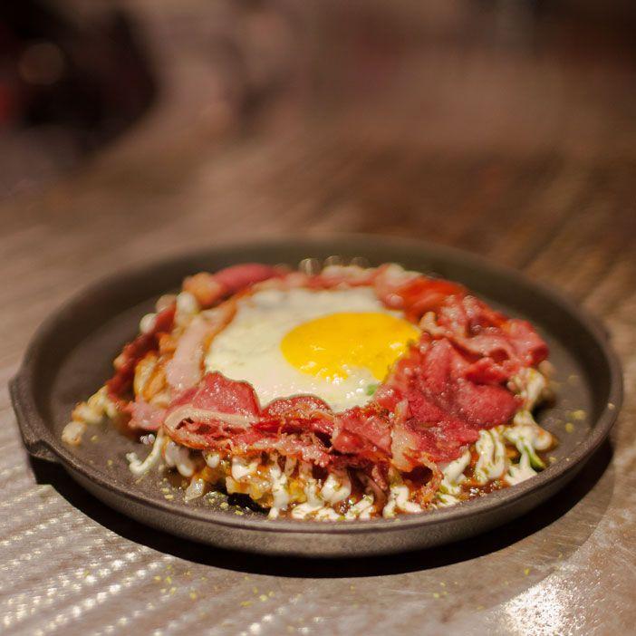 One of the best main course Okirobar has, Okonomiyaki with Caramelized Wagyu
