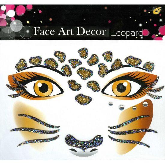 Glitter schmink sticker luipaard. Glitter sticker om heel gemakkelijk een luipaard rondom de ogen en op het gezicht te maken. Geschikt voor volwassenen.