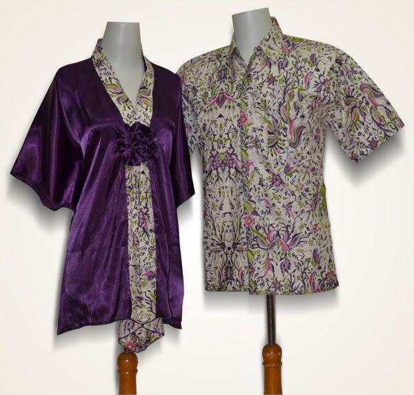 Batik Sarimbit blouse model lengan kelelawar, bahan batik katun kombinasi kain satin (polos ungu)  Kode : SBRU