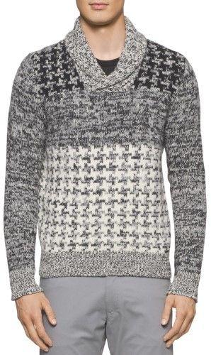 Calvin Klein Premium Slim Fit Shawl Collar Sweater Black and Grey Small S