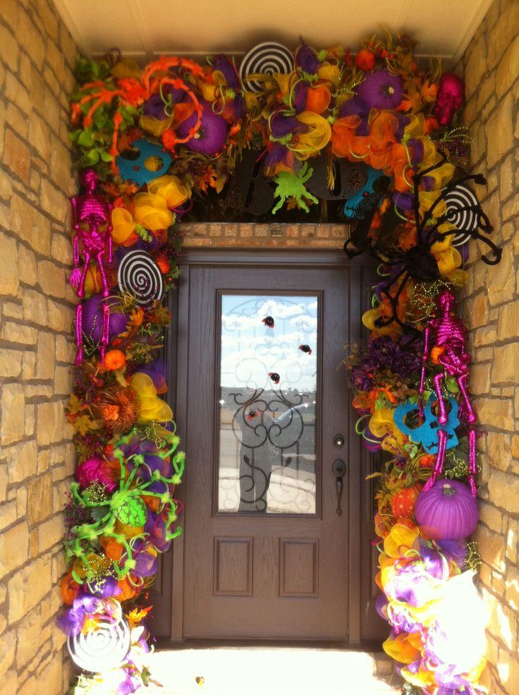 Crazy bright colors-Halloween Door decorHoliday, Ideas, Crazy Bright, Halloween Decor, Doors Decor, Front Doors, Colors Halloween, Halloween Doors, Bright Colors